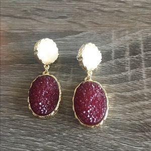 Anthropologie Jewelry - Anthro Druzy Quartz Earrings